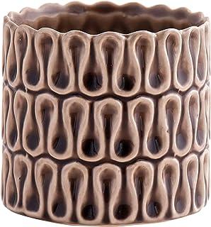 Little Green House Round Ceramic Vase, Brown