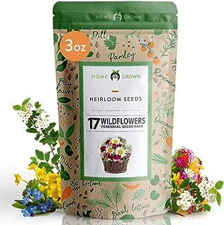 Wildflower Seeds - Flower Seed Pack [17 Variety] - Perennial Flower Seeds for Attracting Birds & Butterflies - Flower Seed...