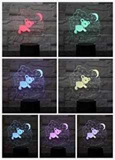 MRQXDP Little bear in the clouds Acrylic sheet LED Night Light Lamp Room decoration light Heart luminaria Childrens Kids B...