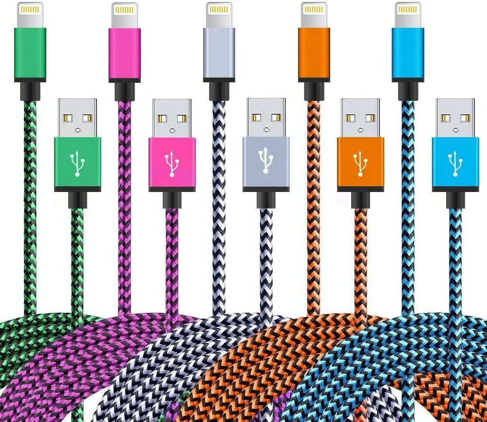 FLS-001 Phone Charger Cable 5 Pack 3.3 FT MFi Certified Phone Charger Cord Fast Charging High Speed Data Sync Cord Compatible with Phone 12 Pro Max 12 11 Pro Max XS MAX XR XS X 8 7 Plus 6S 6 SE