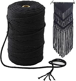 Mygogo Macrame Cord 3mm x 219Yards (About 200m,656feet) Black Colored Cotton Macrame Rope 4 Strand Twisted Soft Cotton Cor...