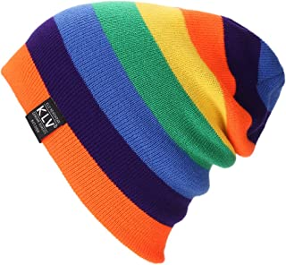 Feamos Slouchy Baggy Beanie Knit Colorful Hats Cozy Comfortable Warm Rainbow Cap Oversized for Winter Unisex (Orange)
