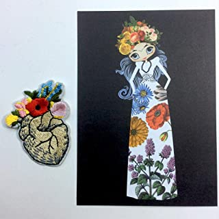 Little Frida Kahlo Anatomical Heart with Flowers Iron On Embroidered Patch with Postcard A6 Flora