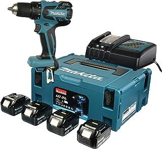 Makita Cordless Drill/Driver (18V/4.0Ah, 2Batteries and Charging Station in Makpack) DDF459RMJ, Blue, DDF459RF4J 0W, 18V