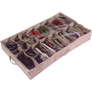 Brilliant Feet Caja organizadora de Zapatos para Debajo de la Cama (para 16 Pares, de Robusta Lona Oxford de 600D, con Tapa Transparente de PVC, 60 x 15 x 100 cm): Amazon.es: Hogar