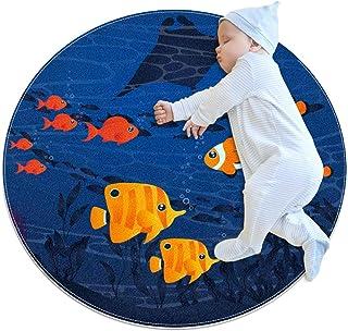 Soft Round Area Rug 70x70cm/27.6x27.6IN Anti-Slip Floor Circle Mats Absorbent Memory Sponge Standing Mat,sea Bed Fish