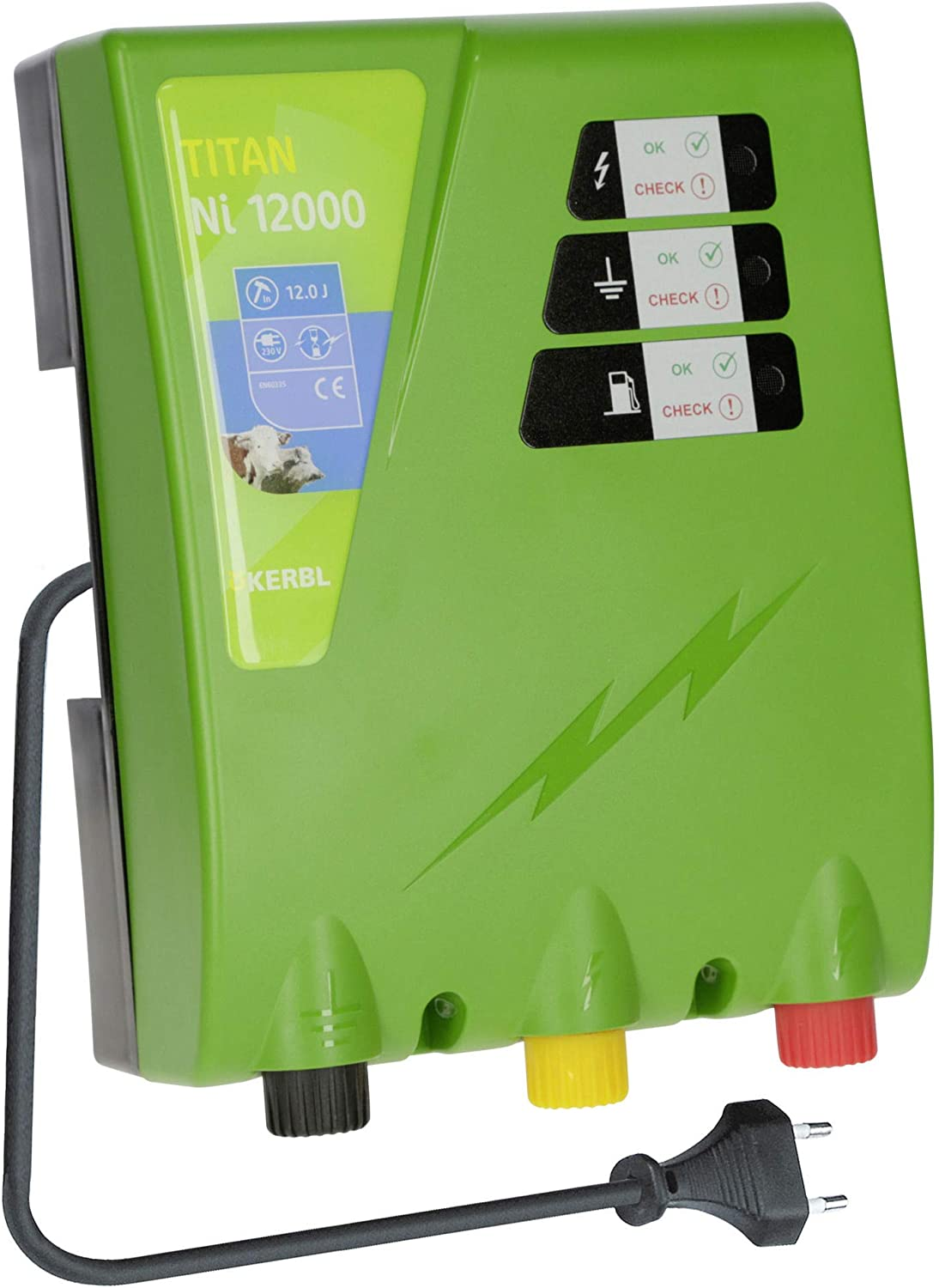 Kerbl NI 12000, 12.0 J Electric Fence Device Titanium Power Supply 230 V