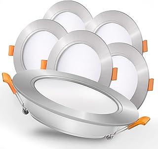 Luxari Spot encastré LED 230V argenté - Luminaires encastrés LED rayonnants [Lot de 6 9W] - Salle de bain LED Spot [3000K ...
