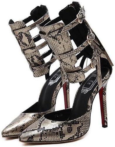 Bottes à Talons Hauts Sandales Punk Gladiateur à La Cheville Chaussures Sexy à Bout Pointu Femmes Stiletto
