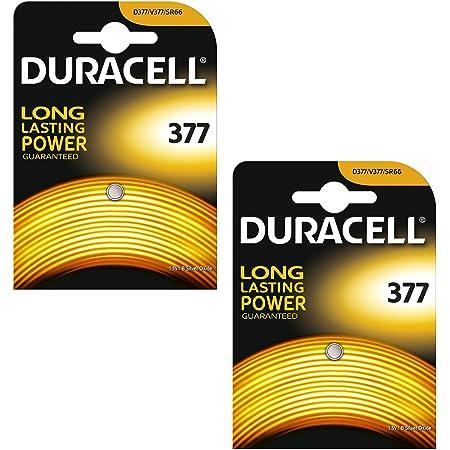 Duracell 377 SR626SW Lot de 2piles à oxyde d'argent 1.55V pour montre–Équivalentes aux piles SB-AW, AG4