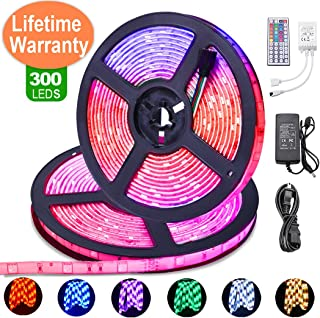 LED Strip Lights with Remote [Advanced Version] 32.8ft 5050 IP65 Waterproof Flexible Self Adhesive RGB W 300LEDs Multicolor Neon Ribbon Tape Light with 6500K White Bright for Indoor Room TV