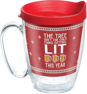 Tervis 1272331 Lit Mug with Lid, Inspired by ugly holiday sweaters, this fun, spirited design lets friends and family know what youve planned for Christmas vacation. , Red