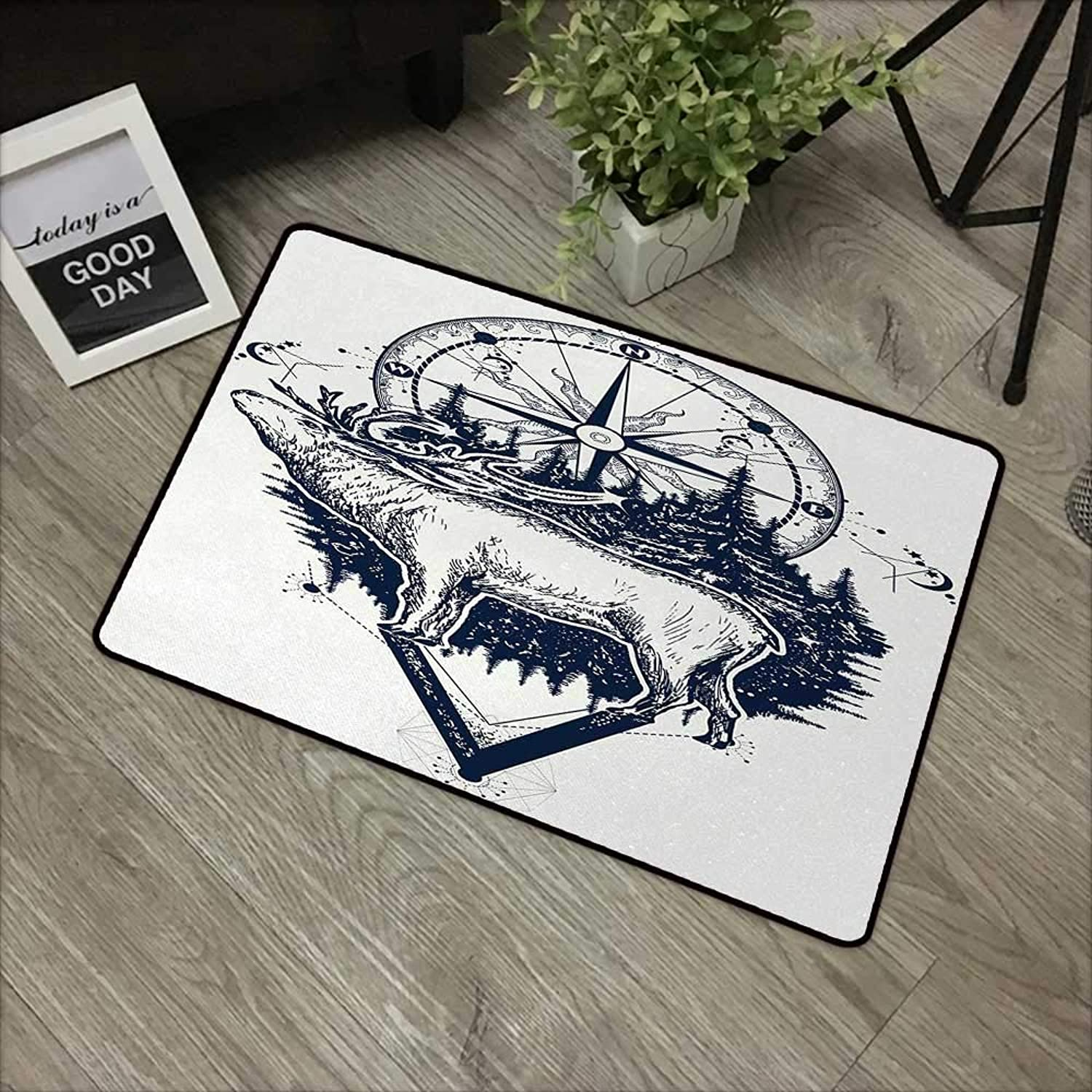 Printed Door mat W35 x L59 INCH Adventure,Reindeer and Compass Ethnic Tribal Travel Symbol Wilderness Forest Outdoors,Dark bluee White with Non-Slip Backing Door Mat Carpet
