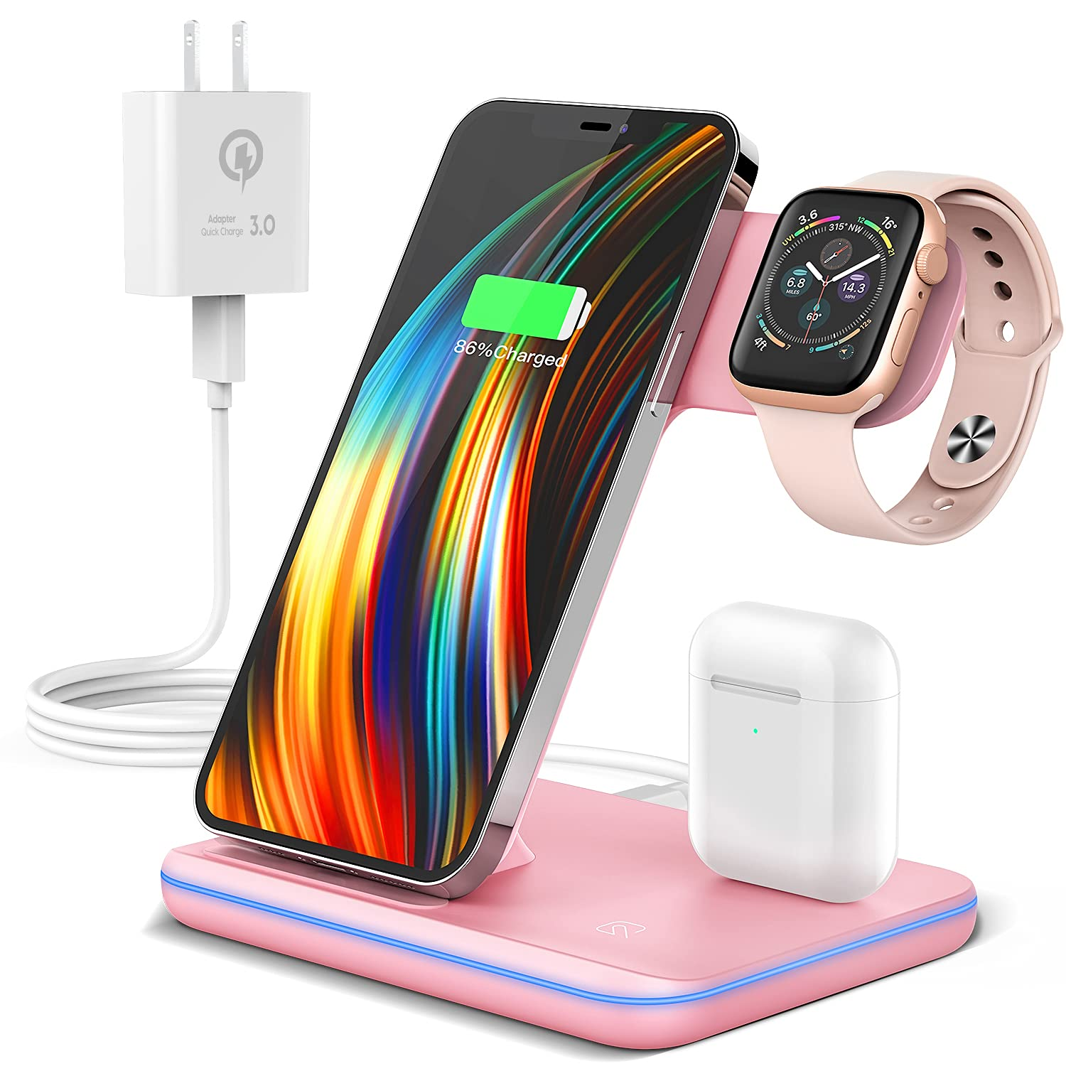 Wireless Charging Station, 2021 Upgraded 3 in 1 Wireless Charger Stand with Breathing Indicator Compatible with iPhone 12/11 Pro/XS/XR/8, Watch 6/SE/5/4/3 & AirPods(Pink)