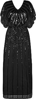 PrettyGuide Women's 1920s Flapper Dress Sequin Beaded Deco Angle Sleeve Maxi Formal Evening Dress