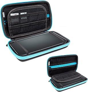 Orzly Funda para Nintendo 3DS XL (Original) o New 3DS XL (Nueva) - Funda Dura de Viaje para Llevar la Consola con Ranuras para Juegos y Bolsillo con Cremallera – Azul sobre Negro