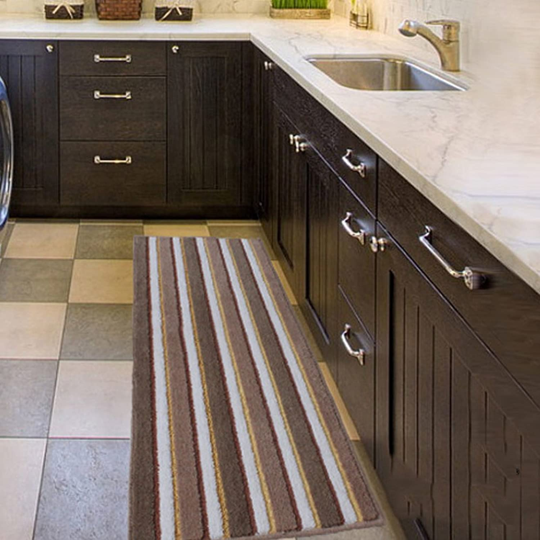 Simple long striped velvet floor mat Slip in the kitchen water-absorbing pad Kitchen floor mats-B 50x150cm(20x59inch)