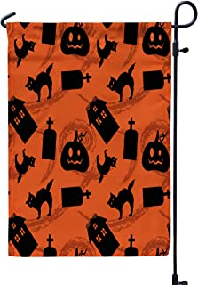 GROOTEY Welcome Garden Flag Home Yard Decorative 12X18 Inches Pumpkin Patch Garden Silhouettes Pattern Eps Double Sided Seasonal Garden Flags,Peach Gray