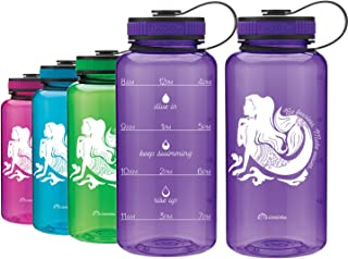 LivinLotus Mermaid - Wide Mouth 34oz Water Bottle - Inspirational Water Tracker for Hydration Tracking with Time Tracked by The Hour for Three Refills and Motivational Quotes