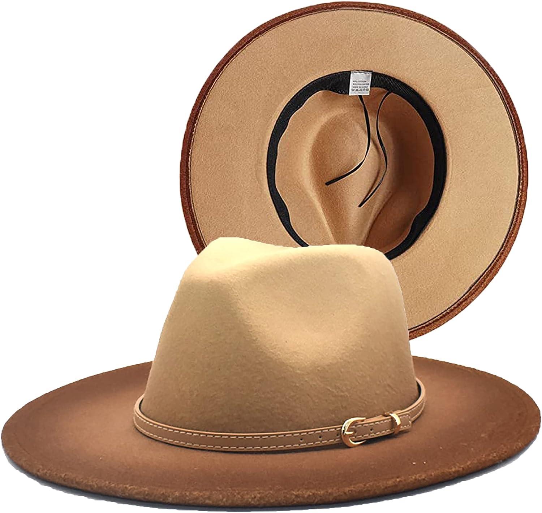 Womens Gradient Fedora Hat Wide Brim Classic Belt Buckle Panama Hat