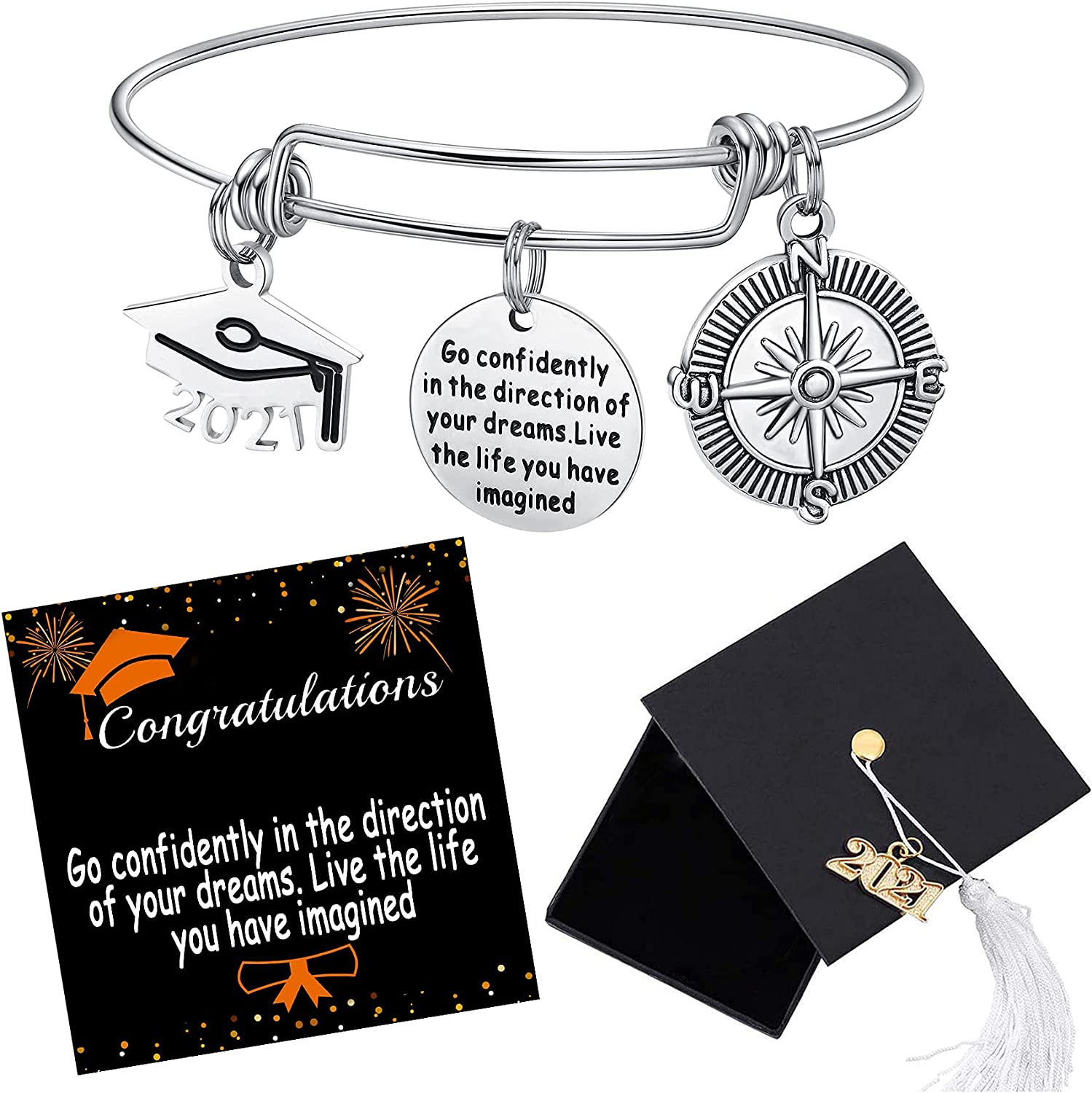 2021 Graduation Gift Cap Bangle Branded goods Compass Limited Special Price Bracelet Expa