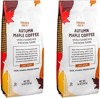 Trader Joes Autumn Maple Ground Coffee - Pack of 2 Bags - 14 oz Per Bag - Seasonal Flavor - 100%% Arabica Ground Coffee - Light Roast