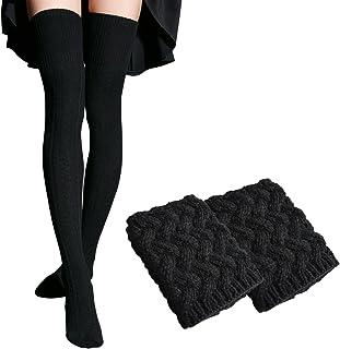 96c1717629dd9 WhiFan Femmes Plus de genou hiver Casual femme Cuissardes plaine en coton  extensible Overknee