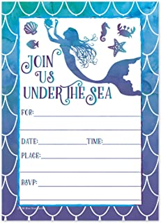 Mermaid Watercolor Birthday Party Invitations for Girls - Summer Pool Party Kids Under the Sea Invites - (20 Count with Envelopes)
