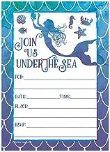 Old Blue Door Invites Invitaciones de Fiesta de cumpleaños con diseño de Sirena Acuarela para niñas, Invitaciones de Fiesta de Piscina de Verano para niños bajo el mar, 20 Unidades con Sobres
