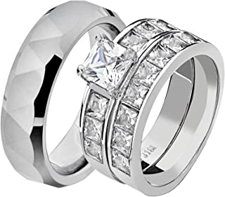 His & Hers Wedding Ring Sets Stainless Steel Princess CZ Triangle Faceted Tungsten Men GS