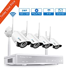 A-ZONE Wireless Security Camera System, 4CH 1080P Full HD NVR with 4pcs 1080P HD Indoor Outdoor Wireless IP Cameras Night Vision,Easy Remote View,No Hard Drive
