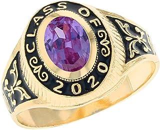 JackAni 14k Yellow Gold Simulated Birthstone 2020 Class Graduation Ring (Style#2567)