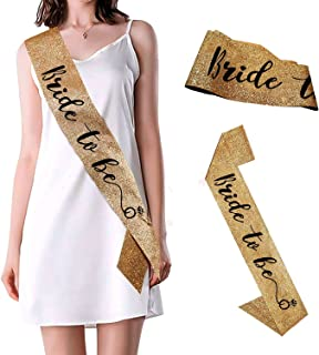 Party Propz Bride to Be Sash For Bachelorette Parties Glitter Gold