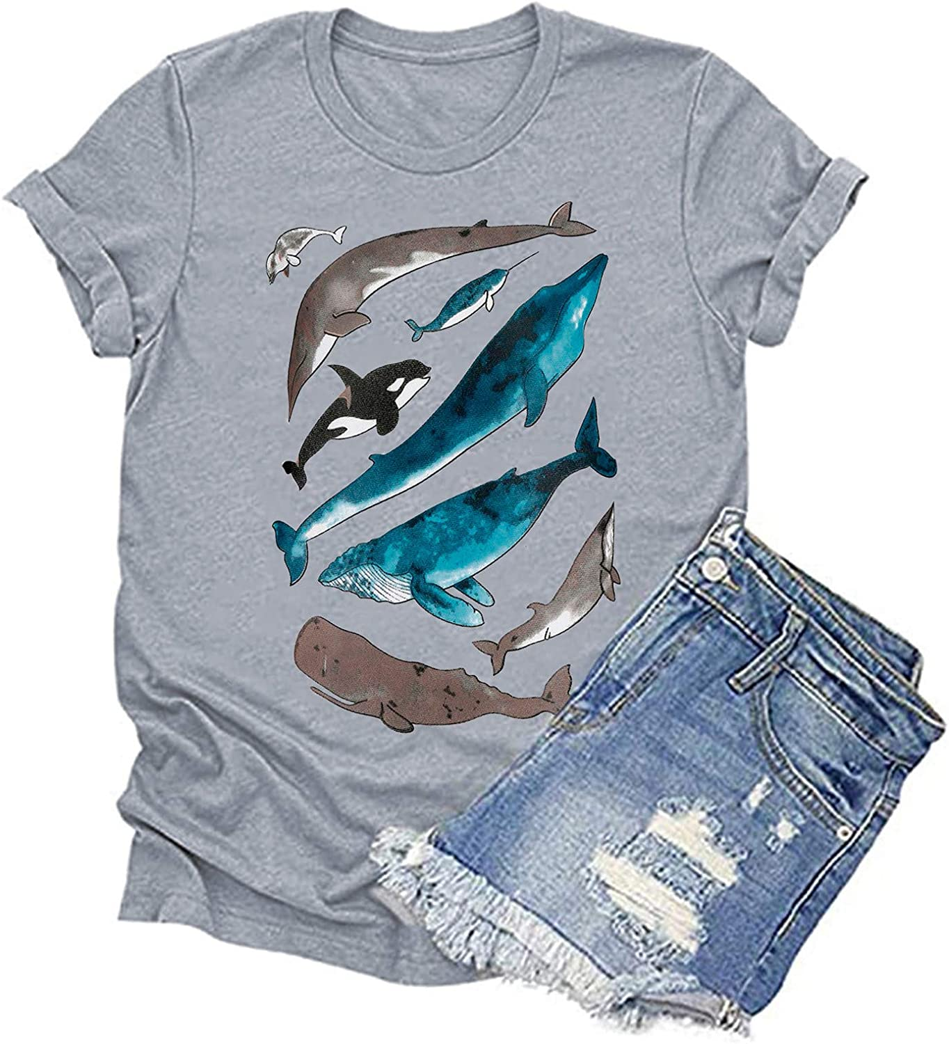 Graphic Tees NEW before selling ☆ for A surprise price is realized Women Teen Girls Sleeve Sea Vintage Short Theme