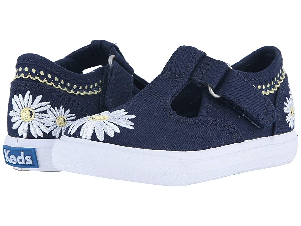 Keds Kids Daphne T-Strap 2 (Toddler/Little Kid) (Navy Daisy) Girls Shoes