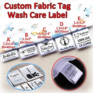 120pcs Custom Clothing Labels Satin Ribbon Handmade Name Brand Logo Wash Care Clothes Sewing Patch Garment Fabric Tags Personalized 1.2