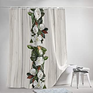 OneHoney Rustic White Magnolia Flowers Green Leaf Bathroom Shower Curtain Sets with Hooks 72x84Inch, Polyester Fabric Bath...