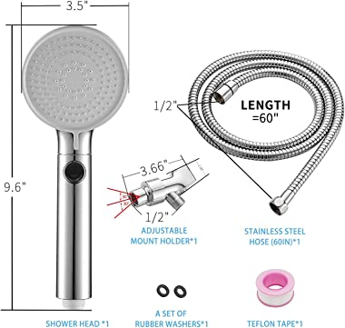 High Pressure Shower Head Hand-held with ON/Off Switch - Shower Head with Handheld, 3-Modes Handheld Shower Head with Hose,Ch