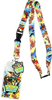 Scooby Doo Tie Dye Lanyard Keychain ID Holder Mystery Machine Rubber Charm and Sticker
