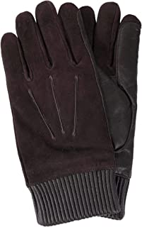 MEN'S DARK BROWN DEER LEATHER + SHEEP LEATHER THINSULATE LINED WINTER GLOVES