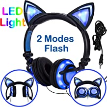 Kids Headphones Glowing Cat Earphones Over/on Ear with LED USB, Rechargeable Wired Foldable Game Headset for Girls Boys Toddlers Phone PC, Learning Education Toys School Supplies Prize for Classroom