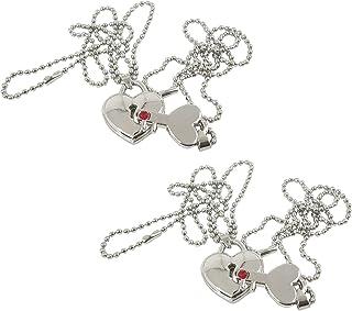 Utkarsh (Set Of 2 Pcs) Valentine's Day Special Metal Heart Design Key And Lock Romantic Keepsake Diamond Nug Key Lock Love...