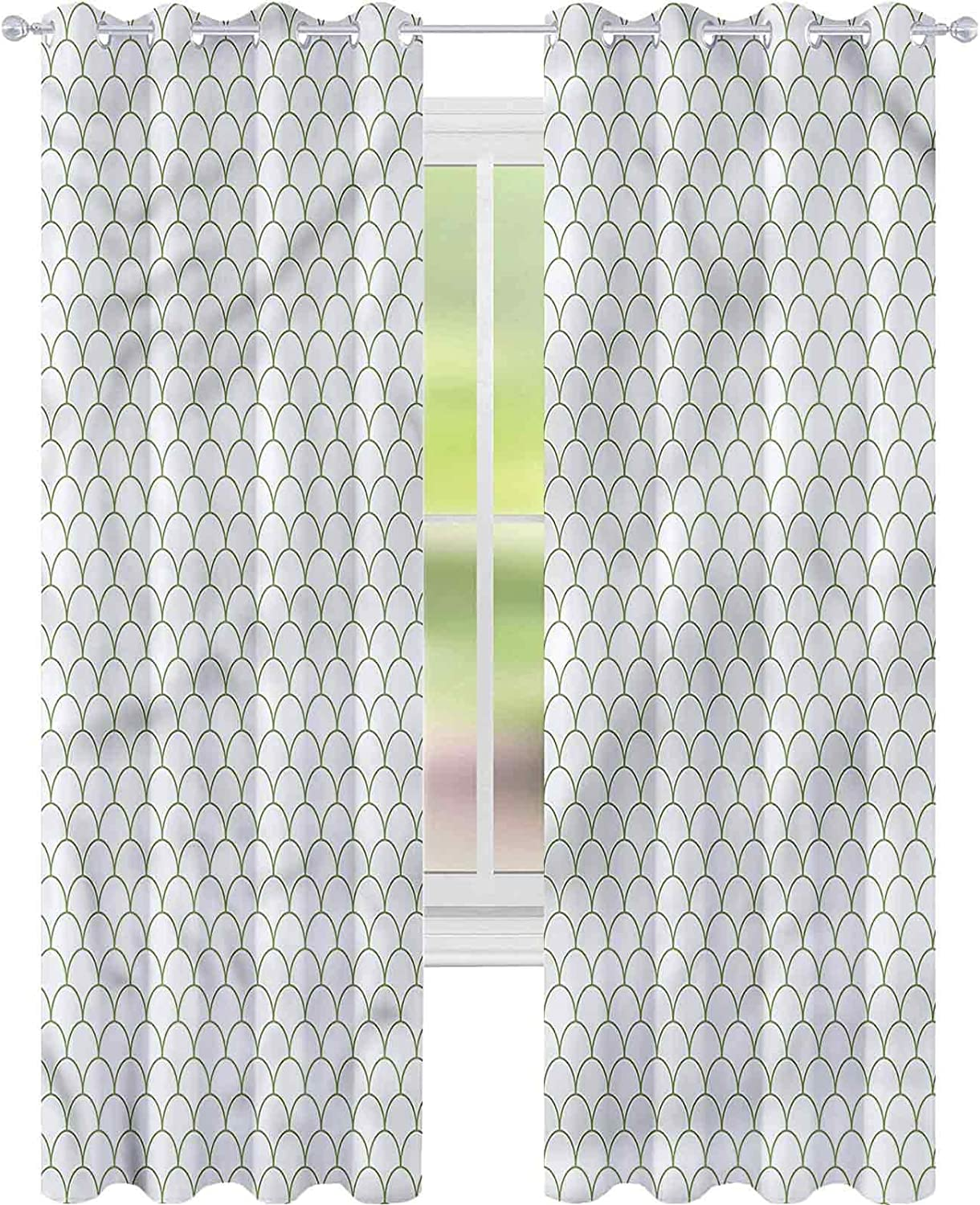 Blackout Window Curtain Excellence Ranking TOP15 White Flake Style x L72 Waves W42 Green