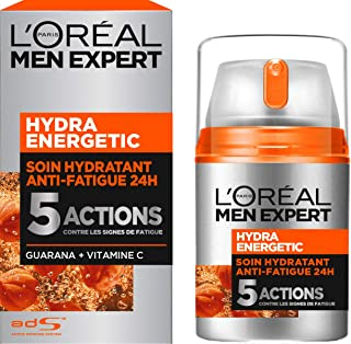 L'Oréal Men Expert Hydra Energetic Soin Hydratant Anti-Fatigue 24H Homme, 50 ml