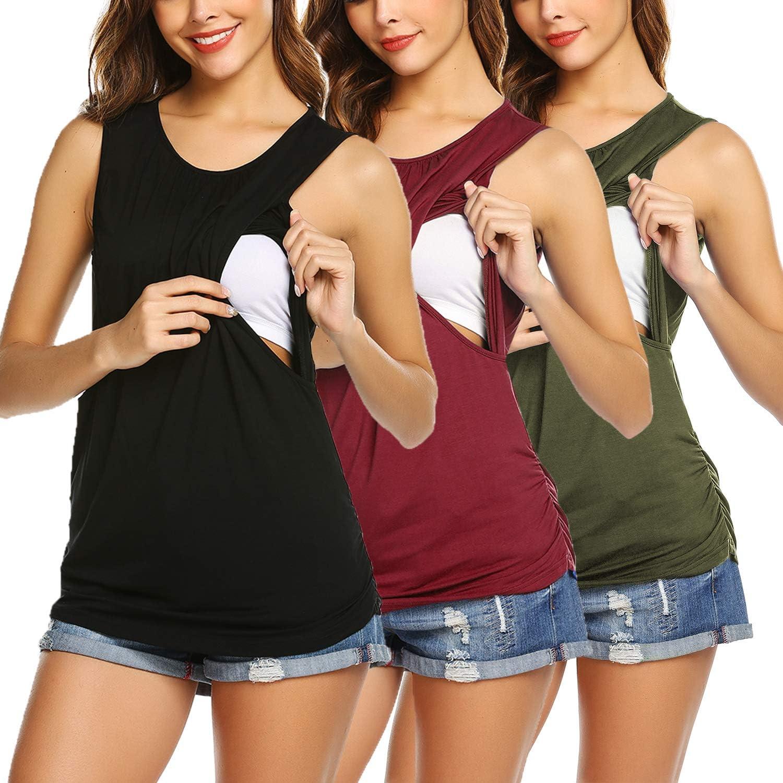 Ekouaer Women's Maternity Nursing Tank Top 3 Pack Breastfeeding Top Shirt Double Layer Soft Sleeveless Pregnancy Clothes