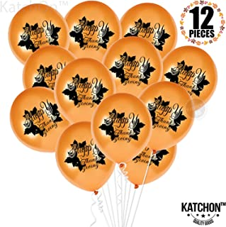 Happy Thanksgiving Balllons with Maple Leaves - Pack of...