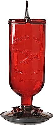 Perky-Pet 8109-2 Antique Glass Bottle Hummingbird Feeder-16-Ounce Capacity, Red
