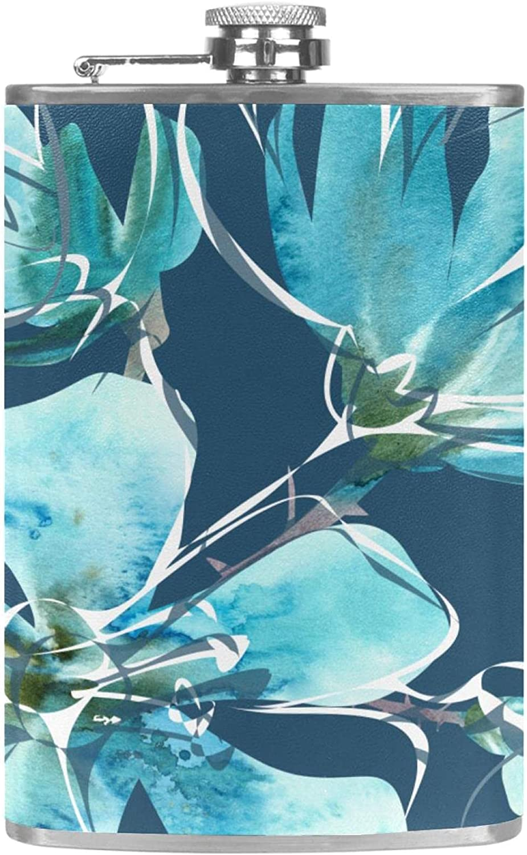 Petacas de Alcohol hojas de arbol azul Petacas de Licor Acero Inoxidable 227ml Frasco de Whisky Botella de bolsillo Con embudo 9.2x15cm