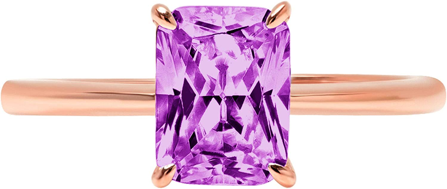 2.45 Brilliant Radiant Cut Solitaire Purpl Max 51% OFF wholesale Simulated CZ Flawless