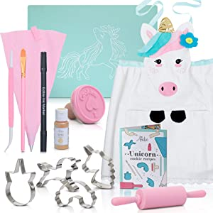 Kids Cookie Baking Set for Girls - Incl. Unicorn Apron, Cookie Cutters, Complete Cooking Kit With 14 Pieces - Great for Kitchen Dress up and Gifts For Girls Age 4-12
